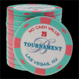 25 Ceramic Poker Chips Bellagio 2007 value 25