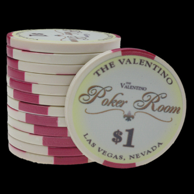 25 Ceramic Poker Chips Valentino value 1