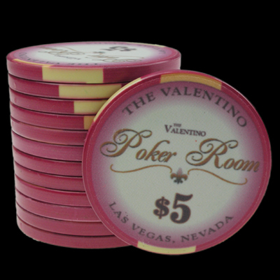 25 Ceramic Poker Chips Valentino value 5
