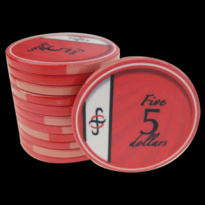 25 Ceramic Poker Chips B-Class value 5