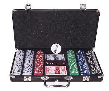 300 black poker chips set Dice