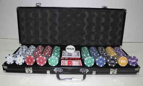 500 black poker chips set Dice with value