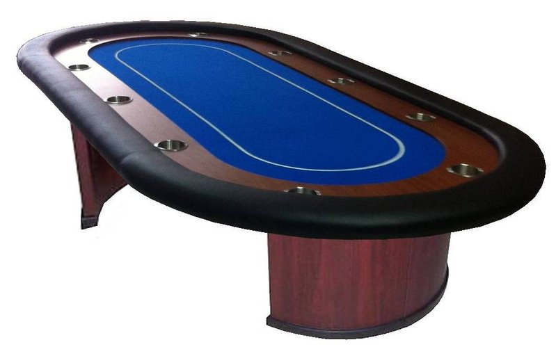 table de poker professionnelle ovale bleue. Black Bedroom Furniture Sets. Home Design Ideas