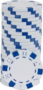 Rolls of 25 White Dice Poker Chips
