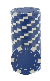 Rolls of 25 Blue Dice Poker Chips