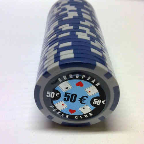 Rolls of 25 EPC Poker Chips value 50€
