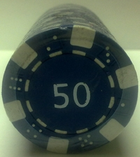 Rolls of 25 Dice Poker Chips value 50