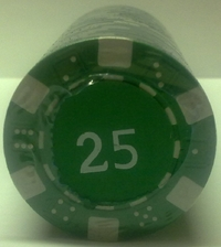 Rolls of 25 Dice Poker Chips value 25