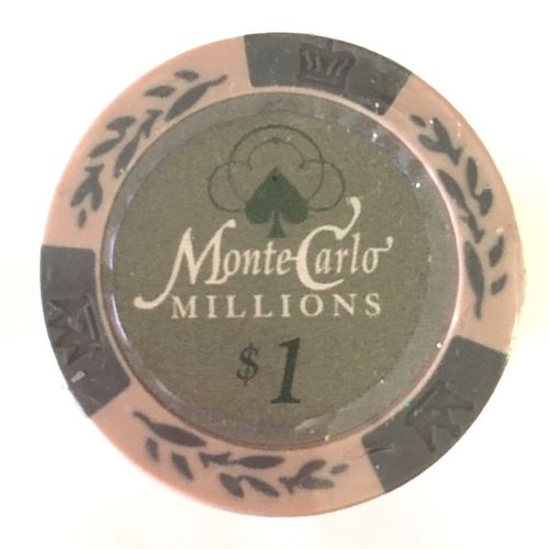 25 Jetons Clay Montecarlo Millons 1$