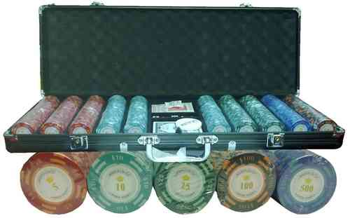 500 black poker chips set Clay Montecarlo