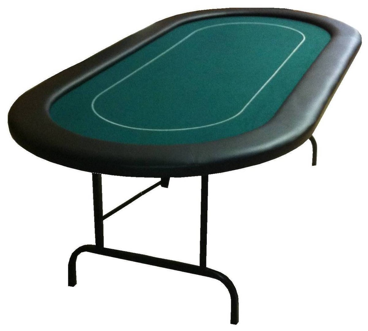 mesa de poker oval plegable verde 10 pax