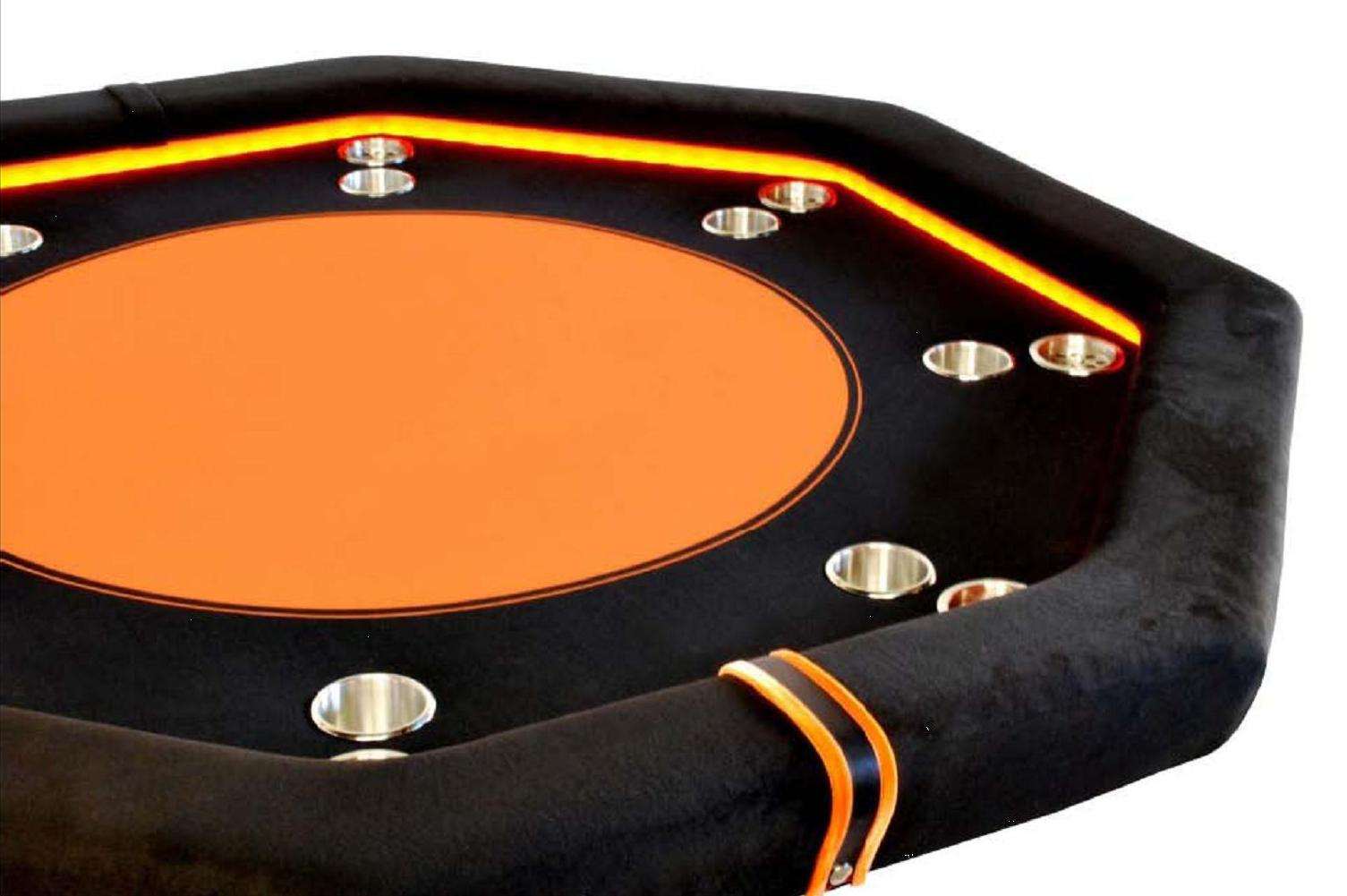 octagonal poker table orange caiman ocio metal. Black Bedroom Furniture Sets. Home Design Ideas
