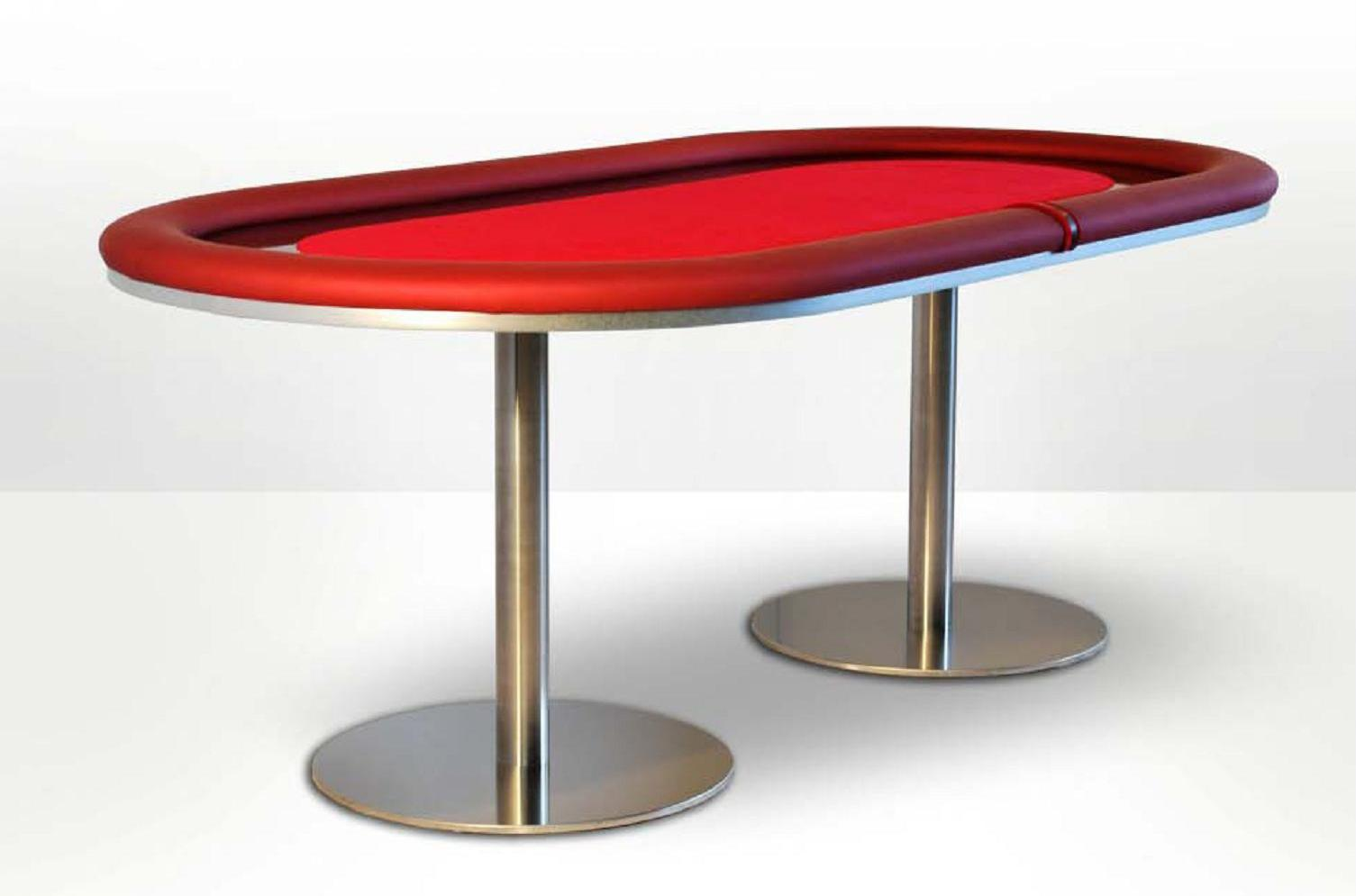 Mesa de poker oval caiman dise o metal vermelho for Mesas plegables de diseno