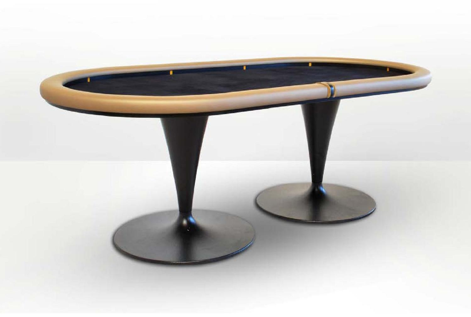 Oval poker table black caiman dise o metal for Mesa diseno