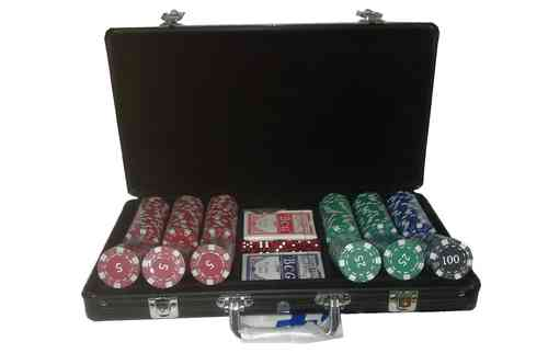 300 black poker chips set Dice with value