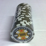 Rolls of 25 EPC Poker Chips value 10000 gold