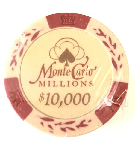 25 Jetons Clay Montecarlo Millons 10000$