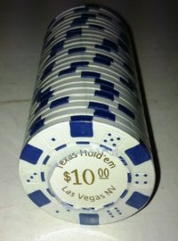 Rolls of 25 Dice Las Vegas Poker Chips value 10