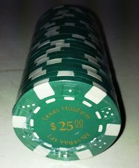 Rolls of 25 Dice Las Vegas Poker Chips value 25