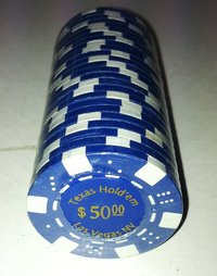 Rolls of 25 Dice Las Vegas Poker Chips value 50