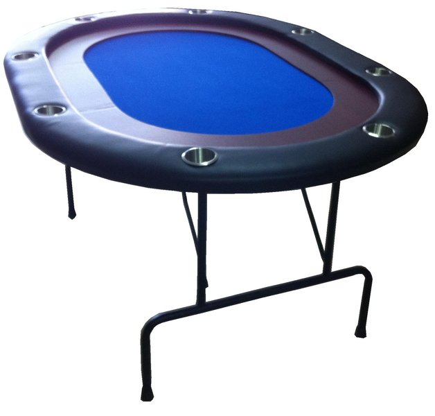 HIGH RANGE Oval Foldable Poker Table blue 8 pax mini size