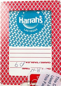 Harrahs Playing Card Vegas Casino red