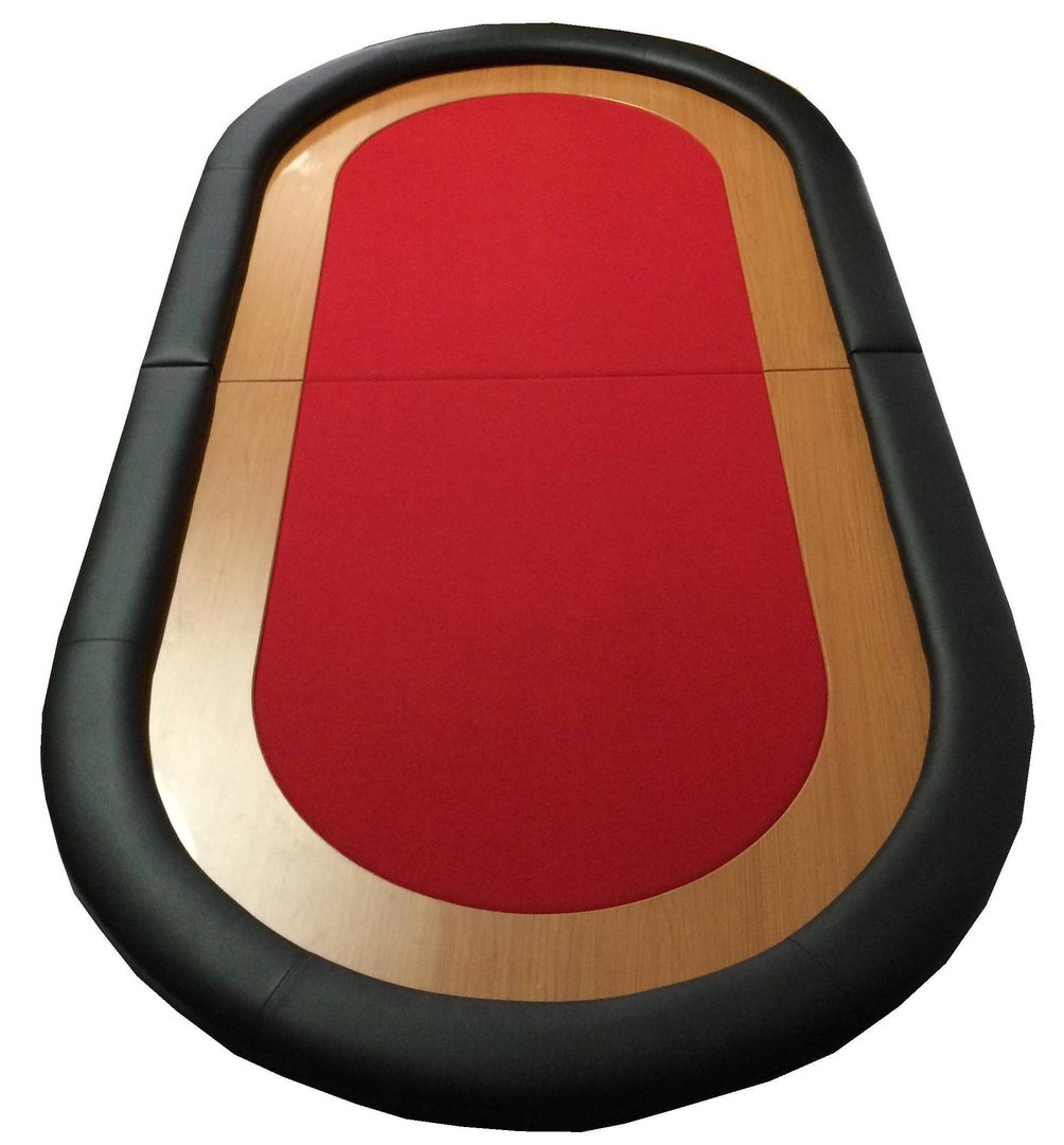 Oval Poker Table Top red - PokerProductos.com