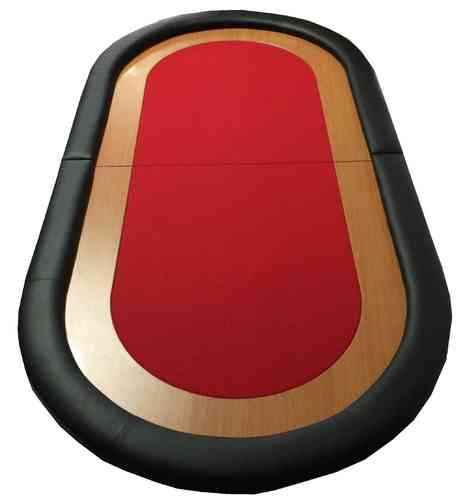 Oval Poker Table Top red
