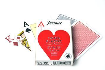 Cartes Fournier 100% plastique Jumbo Poker rouge