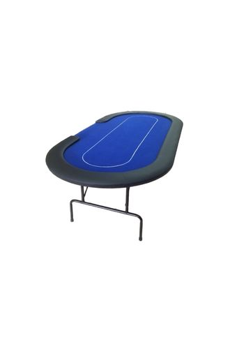 Foldable Oval Poker Table blue-CROUPIER