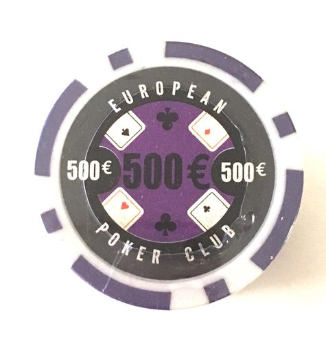 Rolls of 25 EPC Poker Chips value 500€