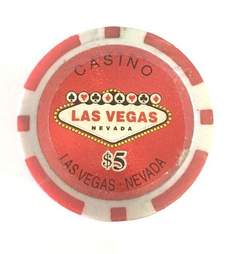 Rolls of 25 Las Vegas Poker Chips value 5$