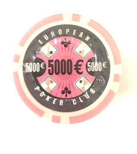 Rolls of 25 EPC Poker Chips value 5000 pink