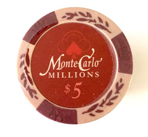 25 Jetons Clay Montecarlo Millons 5$
