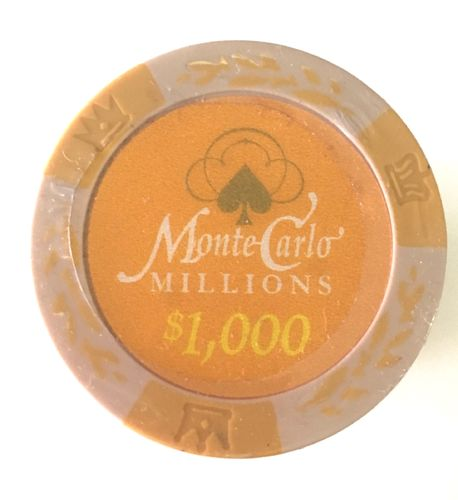 25 Montecarlo Millons Clay Chips value 1000$ blue