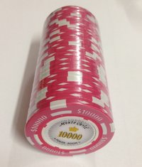 25 Montecarlo Clay Chips value 10000 pink