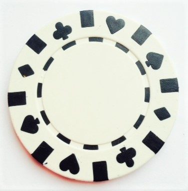 Rolls of 25 White Suited Poker Chips