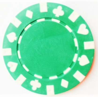 Rolls of 25 Green Suited Poker Chips