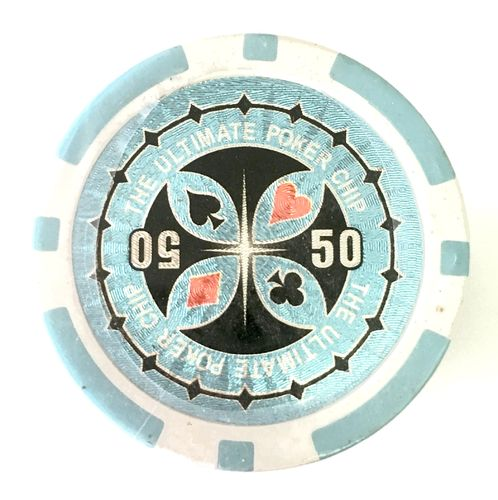 Rolls of 25 Ultimate Poker Chips value 50 light blue