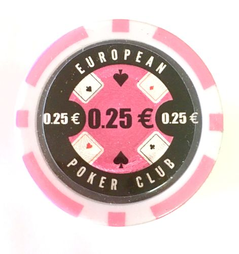 Rolls of 25 EPC Poker Chips value 0,25€