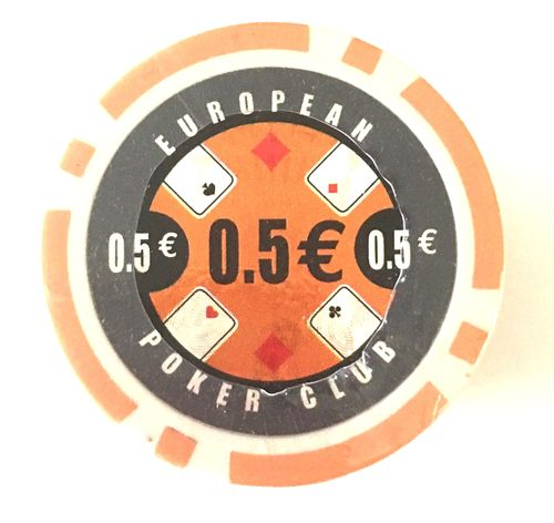 Rolls of 25 EPC Poker Chips value 0,50€
