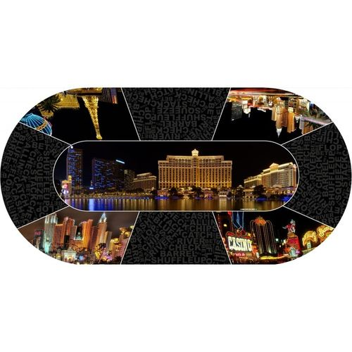 Poker layout rubber grip oval Vegas City