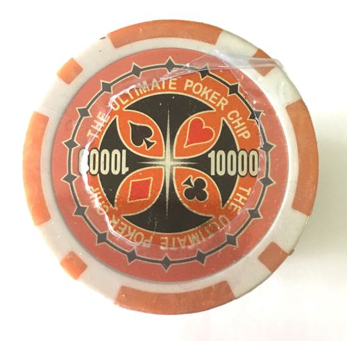 Rolls of 25 Ultimate Poker Chips value 10000 Orange