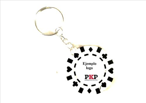 Custom white poker chip keychain
