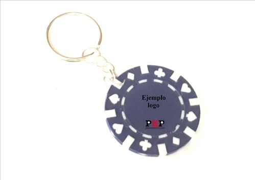 Custom blue poker chip keychain