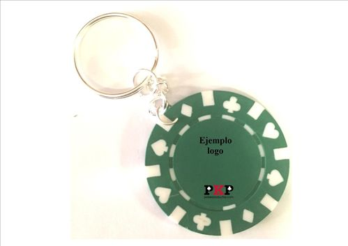 Custom green poker chip keychain