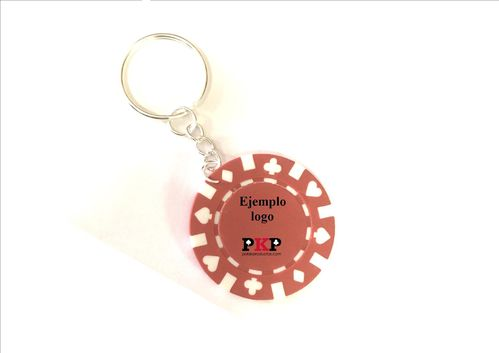 Custom red poker chip keychain
