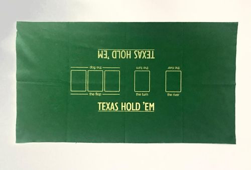 Rectangular green felt mat Texas Hold'em