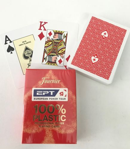 EPT 100% Plastic Poker Cards Jumbo red